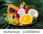 exotic tropical fruits dish on... | Shutterstock . vector #1110336920