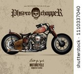 vintage chopper motorcycle... | Shutterstock .eps vector #1110337040
