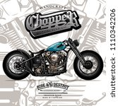 vintage chopper motorcycle... | Shutterstock .eps vector #1110342206
