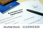 Small photo of Business Visa application form to travel or immigration. Document with passport, apply and permission for foreigner country