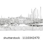 france. marseille. old port.... | Shutterstock .eps vector #1110342470