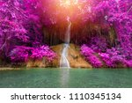 beautiful waterfall in... | Shutterstock . vector #1110345134