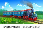 blue train with railway... | Shutterstock .eps vector #1110347510