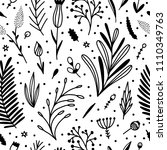 seamless pattern with botanical ... | Shutterstock .eps vector #1110349763