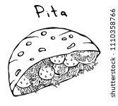 falafel pita or meatball salad...   Shutterstock .eps vector #1110358766