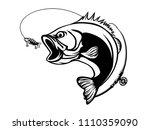 fishing bass logo. bass fish...   Shutterstock .eps vector #1110359090