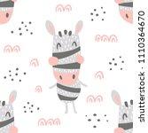 vector seamless pattern  cute... | Shutterstock .eps vector #1110364670