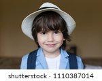 beautiful little brunet hair... | Shutterstock . vector #1110387014