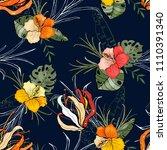 retro wild seamless flower...   Shutterstock .eps vector #1110391340