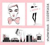 set of fashion illustration.... | Shutterstock .eps vector #1110391616