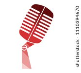 old microphone icon. flat color ...