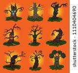 halloween tree vector scary... | Shutterstock .eps vector #1110404690