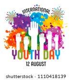 international youth day 12...   Shutterstock .eps vector #1110418139