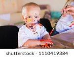 beautiful little blonde boy ... | Shutterstock . vector #1110419384