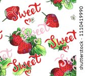 sweet strawberries watercolor... | Shutterstock . vector #1110419990