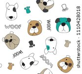 seamless pattern with dogs... | Shutterstock .eps vector #1110428018