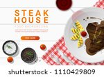 grilled beef  t bone steak and... | Shutterstock .eps vector #1110429809