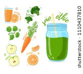 green cocktail for healthy life.... | Shutterstock .eps vector #1110437810