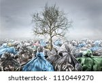 pollution concept. dead tree in ... | Shutterstock . vector #1110449270