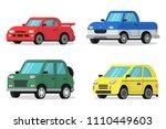 flat illustrations of cars in... | Shutterstock .eps vector #1110449603