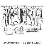 hand drawn wardrobe sketch.... | Shutterstock .eps vector #1110452300