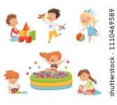 preschool children playing in... | Shutterstock .eps vector #1110469589
