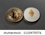 two coins bitcoin and ethereum... | Shutterstock . vector #1110470576