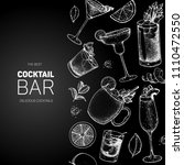 cocktails hand drawn vector... | Shutterstock .eps vector #1110472550