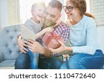 cheerful bearded man embracing... | Shutterstock . vector #1110472640