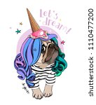 Stock vector vector illustration with pug dog in a striped cardigan color wig and in a ice cream party cap let 1110477200