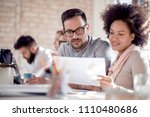business team sitting in office ... | Shutterstock . vector #1110480686