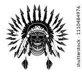 american indian skull icon... | Shutterstock .eps vector #1110484976