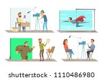 different characters at movie... | Shutterstock .eps vector #1110486980