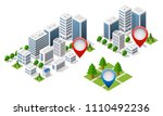 3d map isometric city of... | Shutterstock .eps vector #1110492236