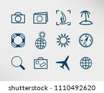 set of travel icons such as ...