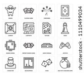 set of 16 icons such as bag...