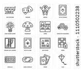 set of 16 icons such as kite ...
