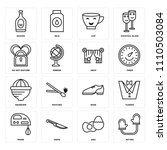 set of 16 icons such as mitten  ...