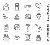 set of 16 icons such as fryer ...