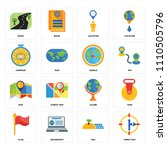set of 16 icons such as... | Shutterstock .eps vector #1110505796