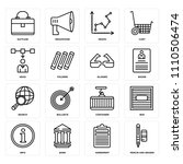 set of 16 icons such as pencin...