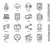 set of 16 icons such as keyword ...