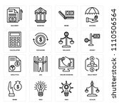 set of 16 icons such as scales  ...