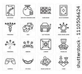 set of 16 icons such as chess ...