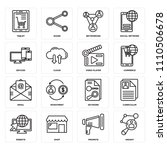 set of 16 icons such as insight ...