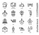 set of 16 icons such as bribe ...