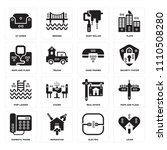 set of 16 icons such as lover ...