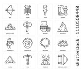 set of 16 icons such as bow and ...