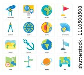 set of 16 icons such as map ...