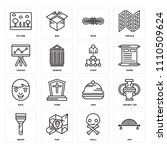 set of 16 icons such as arc ...